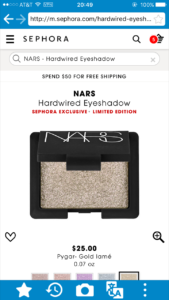 Sephora NARS Hardwired Eyeshadows
